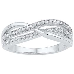 10kt White Gold Womens Round Natural Diamond Crossover