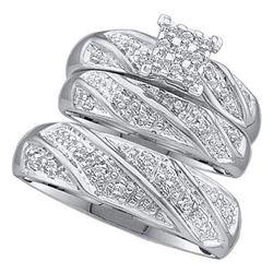 10KT White Gold 0.30CTW DIAMOND CLUSTER TRIO SET