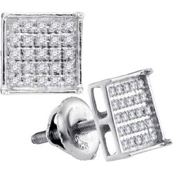 925 Sterling Silver White 0.15CTW DIAMOND MICRO-PAVE EA
