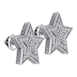 925 Sterling Silver White 0.10CTW DIAMOND MICRO-PAVE EA