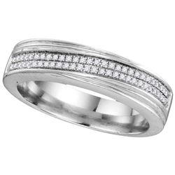 10k White Gold Mens Natural Diamond Wedding Anniversary