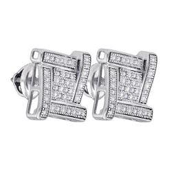 925 Sterling Silver White 0.14CTW DIAMOND MICRO-PAVE EA