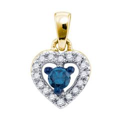 10K Yellow-gold 0.21CT BLUE DIAMOND FASHION PENDANT