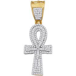 10kt Yellow Gold Mens Round Diamond Ankh Cross Religiou