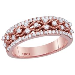 10kt Rose Gold Womens Round Natural Diamond Roped Woven