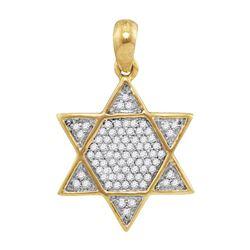 10kt Yellow Gold Mens Round Diamond 6-Point Star Magen
