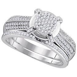 10KT White Gold 0.50CTW DIAMOND MICRO-PAVE BRIDAL RING