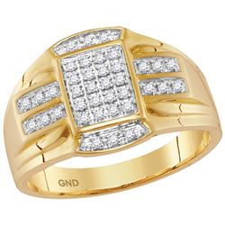 10kt Yellow Gold Mens Round Diamond Rectangle Cluster R