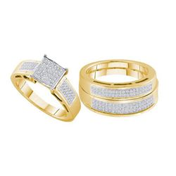 925 Sterling Silver Yellow 0.60CTW DIAMOND MICRO PAVE T