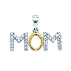 925 Sterling Silver White Two Tone 0.10CT DIAMOND MOM P