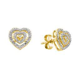 10KT Yellow Gold 0.10CTW DIAMOND HEART EARRINGS