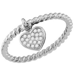 10kt White Gold Womens Round Diamond Heart Dangle Stack