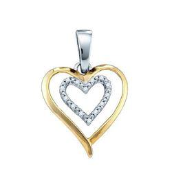 925 Sterling Silver White 0.05CT DIAMOND LADIES HEART P