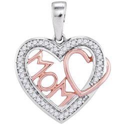 10KT White Gold Two Tone 0.10CTW-Diamond HEART PENDANT