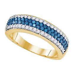 10K Yellow-gold 0.85CT BLUE DIAMOND FASHION RING
