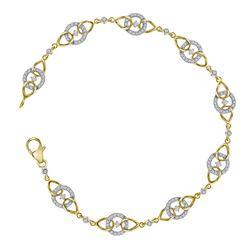 Ladies 10K Yellow Gold Genuine Diamond Fashion Link Des