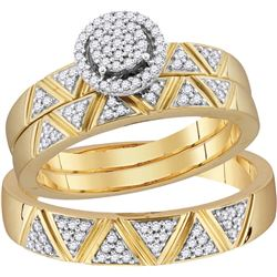 10k Yellow Gold Natural Diamond Cluster His & Hers Matc