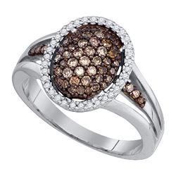 10KT White Gold 0.53CT COGNAC DIAMOND FASHION RING
