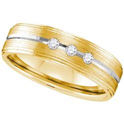 10k White Gold Mens Natural Round Diamond 2-tone Brushe