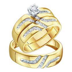 10KT Yellow Gold 0.28CTW DIAMOND ROUND CENTER TRIO SET