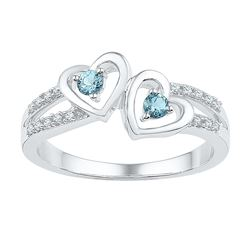 Sterling Silver Womens Round Lab-Created Aquamarine Dia