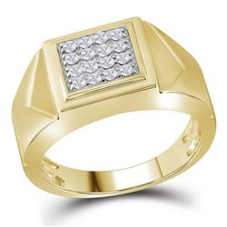 10K Yellow Gold Mens Square Cluster Genuine Diamond Pin