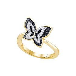 10kt Yellow Gold Womens Round Black Colored Diamond But