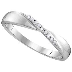 Sterling Silver Womens Round Diamond Crossover Single R