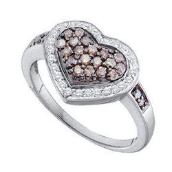 10KT White Gold 0.51CTW COGNAC DIAMOND HEART RING