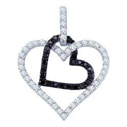 10KT White Gold 0.51CTW DIAMOND HEART PENDANT