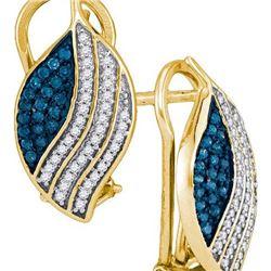 10K Yellow-gold 0.45CTW BLUE DIAMOND MICRO-PAVE EARRING