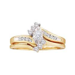 10kt Yellow Gold Womens Marquise Diamond Bridal Wedding