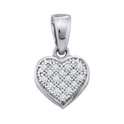 925 Sterling Silver White 0.05CT DIAMOND HEART PENDANT