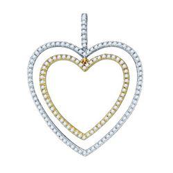 10KT White Gold Two Tone 0.50CT DIAMOND HEART PENDANT