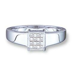 14KT White Gold 0.18CTW PRINCESS DIAMOND LADIES INVISIB