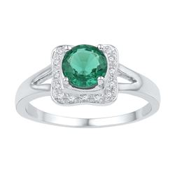 Sterling Silver Womens Round Lab-Created Emerald Solita