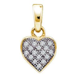 925 Sterling Silver Yellow 0.05CTW DIAMOND HEART PENDAN