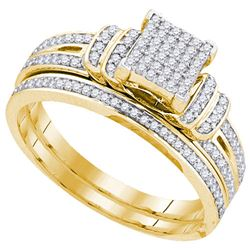 10K Yellow-gold 0.33CT DIAMOND MICRO-PAVE BRIDAL SET