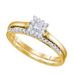 10kt Yellow Gold Womens Princess Diamond Halo Bridal We