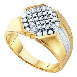 10K Yellow-gold 0.50CTW ROUND DIAMOND MEN'S CLUSTER RIN