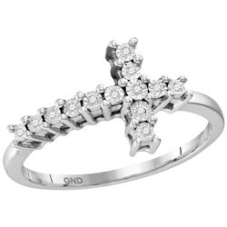 Sterling Silver Womens Round Natural Diamond Christian