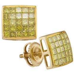 10kt Yellow Gold Womens Princess Yellow Colored Diamond