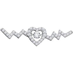 10kt White Gold Womens Round Diamond Twinkle Moving Sol