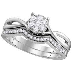 10kt White Gold Womens Round Diamond Twist Bridal Weddi