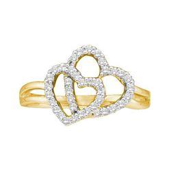14KT Yellow Gold 0.25CTW ROUND DIAMOND HEART LADIES FAS