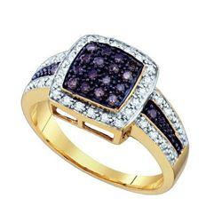 10KT Yellow Gold 0.49CT COGNAC DIAMOND FASHION RING