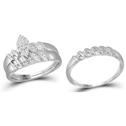 14kt White Gold His & Hers Round Diamond Cluster Matchi