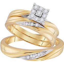 10K Yellow-gold 0.19CTW DIAMOND FASHION TRIO-SET