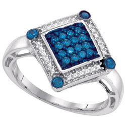 10KT White Gold 0.28CTW BLUE DIAMOND MICRO-PAVE RING