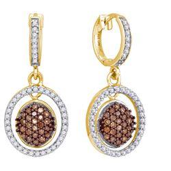 10K Yellow-gold 0.75CTW DIAMOND MICRO-PAVE EARRING